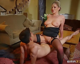 Glamorous housewife in stockings fucks her cocky stepson