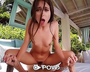 Povd dark brown riley reid backyard fuck by the pool