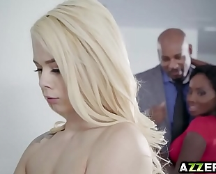 Petite golden-haired elsa jean sexy three-some interracial fuck