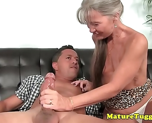 Smalltit gilf jerking schlong on couch
