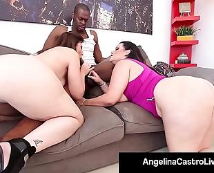 Cuban queen angelina castro & sara jay blow a large dark weenie