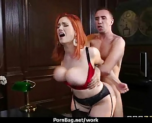 Busty sweetheart is hopeless for a raise and bonks her boss and earn it three