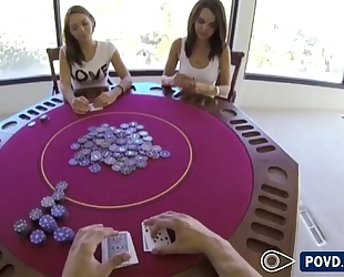 Sara and dillion plays poker fuck they one as well as the other ends up losing turning it trio