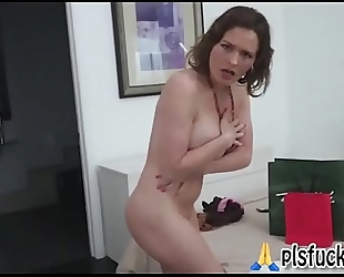Pervert son watching undressing stepmom