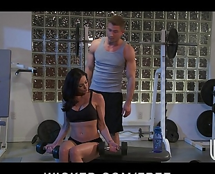 Incredibly fit brunette hair milf seduces her personal coach